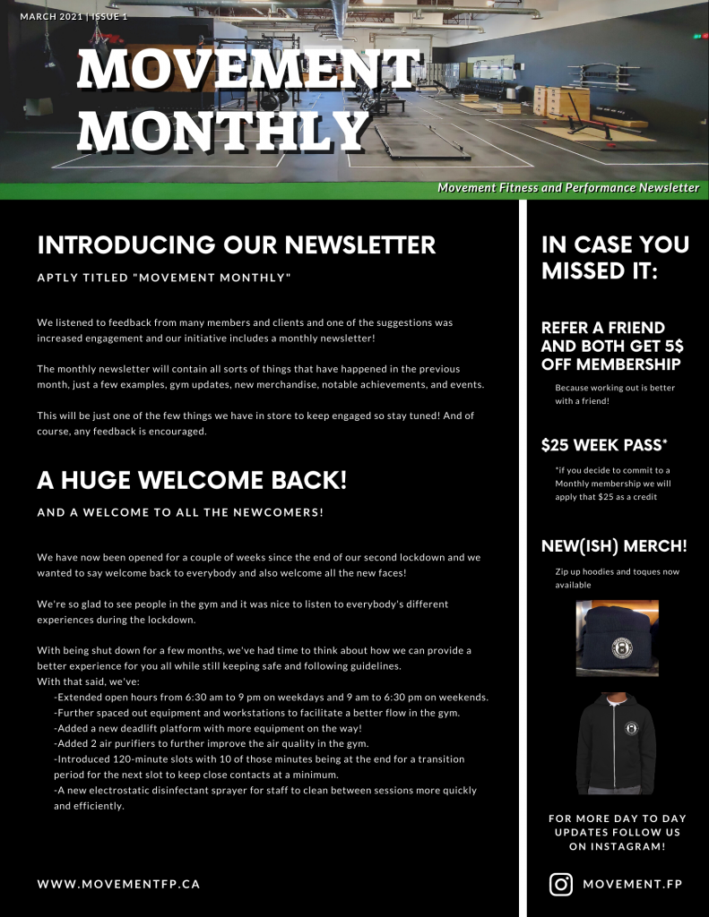 Movement Monthly Newsletter March 2021