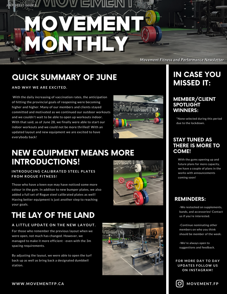 Movement Monthly Newsletter July 2021